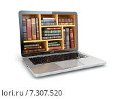 Купить «E-learning education internet library or book store. Laptop and vintage books isolated on white.», иллюстрация № 7307520 (c) Maksym Yemelyanov / Фотобанк Лори