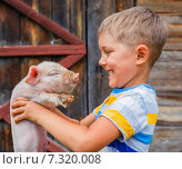 Купить «Счастливый мальчик держит поросенка», фото № 7320008, снято 20 марта 2019 г. (c) Максим Топчий / Фотобанк Лори