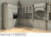 Дизайн-проект кухни 3D визуализация. Стоковая иллюстрация, иллюстратор Дарья Лазарчук / Фотобанк Лори