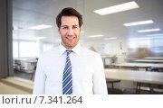 Купить «Composite image of smiling businessman standing with hands in pockets», фото № 7341264, снято 27 мая 2020 г. (c) Wavebreak Media / Фотобанк Лори