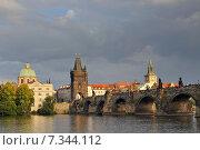 Купить «View of Charles bridge and Vltava river in Prague», фото № 7344112, снято 2 июня 2020 г. (c) BE&W Photo / Фотобанк Лори