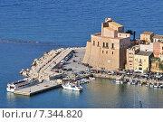 Купить «The town of Castellammare del Golfo in the province of Trapani in Sicily Italy», фото № 7344820, снято 22 апреля 2019 г. (c) BE&W Photo / Фотобанк Лори