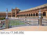 Купить «Plaza de Espana (Place d' Espagne), built between 1914 and 1928 by the architect Anibal Gonzalez, Sevilla, Andalucia, Spain», фото № 7345056, снято 27 марта 2019 г. (c) BE&W Photo / Фотобанк Лори