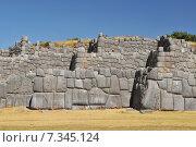 Купить «peru - sacsayhuamán (also known as saksaq waman, sacsahuaman or saxahuaman), walled complex near cusco, the former capital of the inca empire.Peru, Cuzco, Sacsayhuaman Inca ruin», фото № 7345124, снято 24 апреля 2019 г. (c) BE&W Photo / Фотобанк Лори