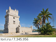 Купить «Lisbon, Belém Tower (Torre de Belém) or the Tower of St Vincent – PortugalPortugal, Lisbon, Belem Tower», фото № 7345956, снято 22 апреля 2019 г. (c) BE&W Photo / Фотобанк Лори