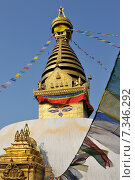 Купить «Nepal, Kathmandu, Swayambhunath stupa», фото № 7346292, снято 23 января 2019 г. (c) BE&W Photo / Фотобанк Лори