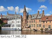 Купить «Classic view of channels of Bruges. Belgium.», фото № 7346312, снято 22 октября 2019 г. (c) BE&W Photo / Фотобанк Лори
