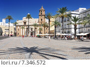 Купить «Santiago Church and pavement cafe in Cathedral Square, Cadiz, Cadiz Province, Andalucia, Spain, Western Europe.», фото № 7346572, снято 11 июля 2020 г. (c) BE&W Photo / Фотобанк Лори