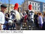 Купить «Знаменитый трамвай конка 1880 года выпуска на параде трамваев в Москве. Чистые пруды, 11 апреля 2015», эксклюзивное фото № 7362052, снято 11 апреля 2015 г. (c) lana1501 / Фотобанк Лори