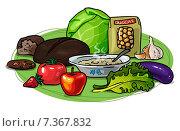 Здоровое питание, низкоуглеводная диета, полезная еда, векторная иллюстрация. Стоковая иллюстрация, иллюстратор Ирина Малашкина / Фотобанк Лори