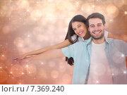 Купить «Composite image of happy casual man giving pretty girlfriend piggy back», фото № 7369240, снято 22 октября 2018 г. (c) Wavebreak Media / Фотобанк Лори