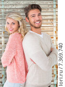 Купить «Composite image of attractive couple smiling with arms crossed», фото № 7369740, снято 22 октября 2018 г. (c) Wavebreak Media / Фотобанк Лори
