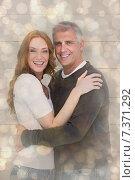 Купить «Composite image of casual couple smiling at camera», фото № 7371292, снято 27 февраля 2020 г. (c) Wavebreak Media / Фотобанк Лори