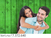 Купить «Composite image of happy casual man giving pretty girlfriend piggy back», фото № 7372640, снято 22 октября 2018 г. (c) Wavebreak Media / Фотобанк Лори