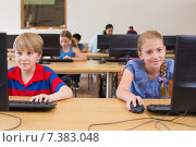 Купить «Cute pupils in computer class with teacher», фото № 7383048, снято 9 ноября 2014 г. (c) Wavebreak Media / Фотобанк Лори