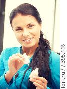 Купить «beautiful woman polishing her nails», фото № 7395116, снято 18 июня 2011 г. (c) Syda Productions / Фотобанк Лори