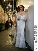 Купить «NEW YORK, NY - APRIL 17: A model walks at the Claire Pettibone Bridal Spring/Summer 2016 Runway Show at Industry Studios on April 17, 2015 in NYC», фото № 7395188, снято 17 апреля 2015 г. (c) Anton Oparin / Фотобанк Лори