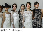 NEW YORK, NY - APRIL 17:Designer Claire Pettibone poses with models at the Claire Pettibone Bridal SS 2016 Runway Show at Industry Studios on April 17, 2015 in NYC. Редакционное фото, фотограф Anton Oparin / Фотобанк Лори