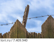 Купить «Колючая проволока на деревянном заборе Barbed wire on wooden fence», фото № 7409940, снято 3 мая 2015 г. (c) Алексей Безрук / Фотобанк Лори