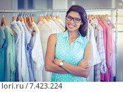 Купить «Happy shopper smiling at camera», фото № 7423224, снято 22 марта 2015 г. (c) Wavebreak Media / Фотобанк Лори