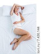 Купить «Blonde woman sleeping in her bed», фото № 7430144, снято 29 января 2015 г. (c) Wavebreak Media / Фотобанк Лори