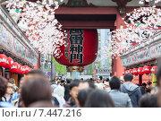 Купить «Огромный красный бумажный фонарь на воротах Kaminarimon gate и улица Nakamise Dori в святыне Sensoji. Район Асакуса, Токио, Япония», фото № 7447216, снято 10 апреля 2013 г. (c) Кекяляйнен Андрей / Фотобанк Лори