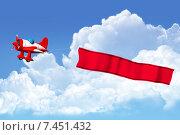 Самолет тянет баннер. Стоковая иллюстрация, иллюстратор Дмитрий Шмелев / Фотобанк Лори
