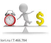 Купить «3d-человечек на весах с часами и символом доллара», иллюстрация № 7466784 (c) Anatoly Maslennikov / Фотобанк Лори