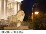 Купить «Лев на лестнице Елагина дворца. Санкт-Петербург», эксклюзивное фото № 7468852, снято 3 ноября 2013 г. (c) Александр Щепин / Фотобанк Лори