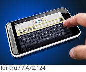 Купить «Поиск стоковых фото на смартфоне», иллюстрация № 7472124 (c) Илья Урядников / Фотобанк Лори