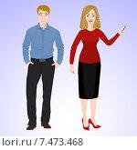 Мужчина и женщина в одежде в офисном стиле. Стоковая иллюстрация, иллюстратор Портнова Екатерина / Фотобанк Лори