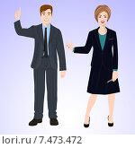 Деловые люди. Мужчина указывает пальцем наверх, женщина с ручкой улыбается. Стоковая иллюстрация, иллюстратор Портнова Екатерина / Фотобанк Лори