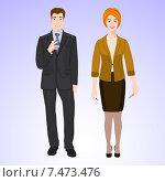 Мужчина и женщина в деловой одежде стоят на сером фоне и улыбаются. Стоковая иллюстрация, иллюстратор Портнова Екатерина / Фотобанк Лори