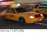 Купить «Abstract motion blur of a city street scene with a yellow taxi cabs speeding by.», фото № 7477256, снято 20 февраля 2012 г. (c) Anton Oparin / Фотобанк Лори
