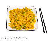 Купить «Рис с овощами и палочки для еды», фото № 7481248, снято 4 февраля 2011 г. (c) Анна Полторацкая / Фотобанк Лори