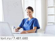 Купить «happy female doctor or nurse writing to clipboard», фото № 7481680, снято 14 марта 2015 г. (c) Syda Productions / Фотобанк Лори