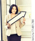 Купить «businesswoman with direction arrow sign», фото № 7481780, снято 7 апреля 2012 г. (c) Syda Productions / Фотобанк Лори