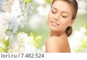 Купить «beautiful young woman face with bare shoulder», фото № 7482524, снято 28 августа 2011 г. (c) Syda Productions / Фотобанк Лори