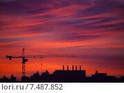 Строительство на закате. Стоковое фото, фотограф Юлия Новикова / Фотобанк Лори
