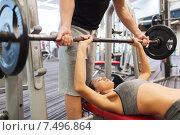 Купить «man and woman with barbell flexing muscles in gym», фото № 7496864, снято 30 ноября 2014 г. (c) Syda Productions / Фотобанк Лори