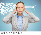 Купить «stressed woman covering her ears with hands», фото № 7497172, снято 19 января 2014 г. (c) Syda Productions / Фотобанк Лори