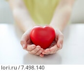 close up of child hands holding red heart. Стоковое фото, фотограф Syda Productions / Фотобанк Лори