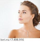 Купить «woman wearing shiny diamond necklace», фото № 7498916, снято 17 марта 2013 г. (c) Syda Productions / Фотобанк Лори