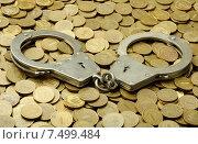 Купить «Наручники лежат на монетах», фото № 7499484, снято 23 мая 2015 г. (c) Денис Ларкин / Фотобанк Лори
