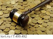 Купить «Судейский молоток лежит на монетах», фото № 7499492, снято 23 мая 2015 г. (c) Денис Ларкин / Фотобанк Лори