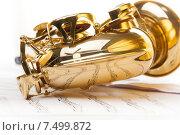 Купить «Альт-саксофон лежит на музыкальных нотах», фото № 7499872, снято 23 февраля 2015 г. (c) Сергей Новиков / Фотобанк Лори