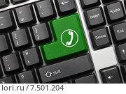 Купить «Концептуальная клавиатура. Зеленая кнопка с символом телефонной трубки», фото № 7501204, снято 30 сентября 2011 г. (c) Самохвалов Артем / Фотобанк Лори