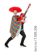 Купить «Funny young mexican with guitar isolated on white», фото № 7505336, снято 15 января 2015 г. (c) Elnur / Фотобанк Лори