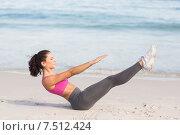 Купить «Fit woman doing fitness beside the sea», фото № 7512424, снято 10 марта 2015 г. (c) Wavebreak Media / Фотобанк Лори
