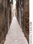 Купить «Узкий проход между мрачными домами. Венеция», фото № 7525548, снято 4 ноября 2013 г. (c) Евгений Ткачёв / Фотобанк Лори